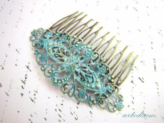 Braut Haar Kamm blau Vintage Stil Grünspan von LeBijouAntique