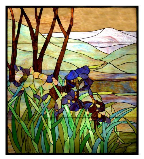 'Iris' custom stained glass window panel (by Meyda Lighting).