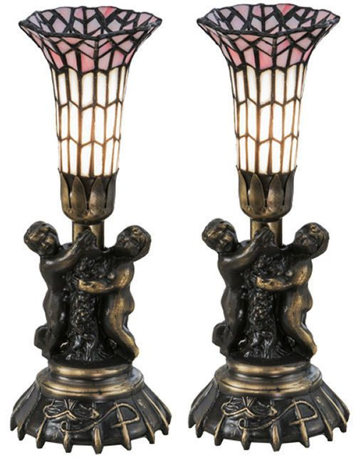 Set Of 2 13 H Twin Cherub Tiffany Pond Lily Mini Desk Or Bedside Table Lamp Meydalighting Frenchcountry Lamp Mini Lamp Lamps For Sale