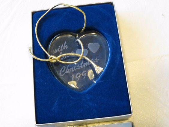 RARE ornament Mikasa Heart XY218/979 with love year 1997 Christmas crystal