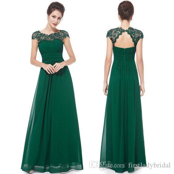 Gothic Dark Green Prom Dresses Cap Sleeves Sheer Corset Empire ...
