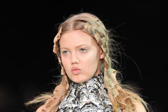 alexander mcqueen runway some kind of basket weave thing going on here.