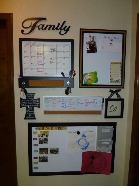Family Calendar Wall : Organizational wall with family calendar menu planner