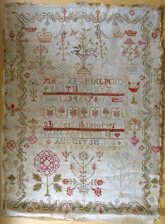 Jane Pattison 1806, owned by Theresa, Shakespeare's Peddler. Can't wait for this to be charted so I can stitch it. Love the pine bough border and motifs outside  the border.