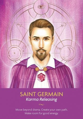 Saint Germain is here now to clear your energy so that you no longer have the weight of the world, or your loved ones' world, on your shoulders. Be aware that an old pattern is leaving your life and creating space for something more loving to enter. Visualize yourself surrounded by a fiery violet cloak to release all the karma you no longer need.:
