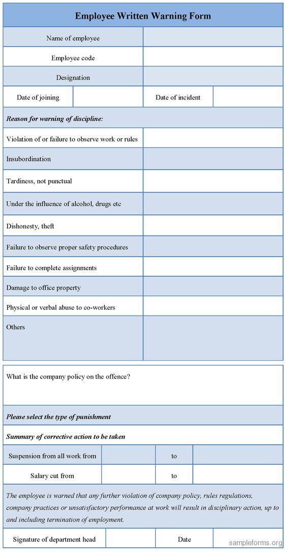 Download Editable Employee u003cbu003eWrittenu003c bu003e u003cbu003eWarningu003c bu003e Form for - writing warning letter for employee conduct