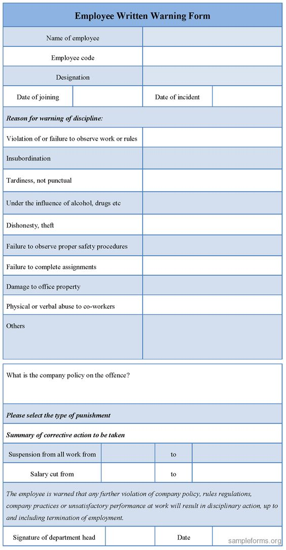 Download Editable Employee u003cbu003eWrittenu003c bu003e u003cbu003eWarningu003c bu003e Form for - employee warning form