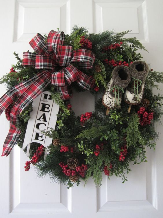 Christmas Wreath, XL Front Door Wreath, Natural Winter Wreath, Evergreen Wreath, Holiday Wreath, Ice Skates, Sled, Christmas Decoration by FunFlorals on Etsy https://www.etsy.com/ca/listing/477898312/christmas-wreath-xl-front-door-wreath