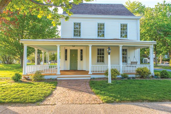 Front porches wraps and built ins on pinterest for House with wrap around porch for sale