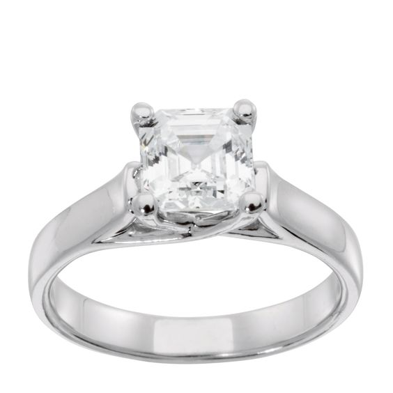 14K White Gold 0.99 ct Princess Cut Lab Created Engagement Ring $795