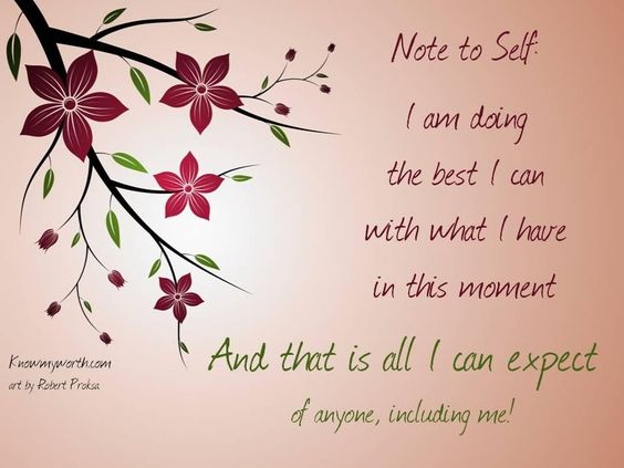Note to self:  I am doing  the best i can  with what I have  at this moment  and that is all I can expect  of myself