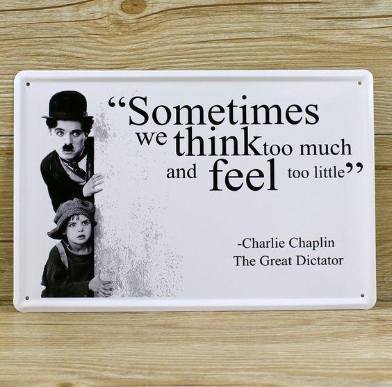 CHARLIE CHAPLIN movie star  UA-0286 vintage metal tin signs painting tinplates wall art craft home decor bar poster 20X30cm