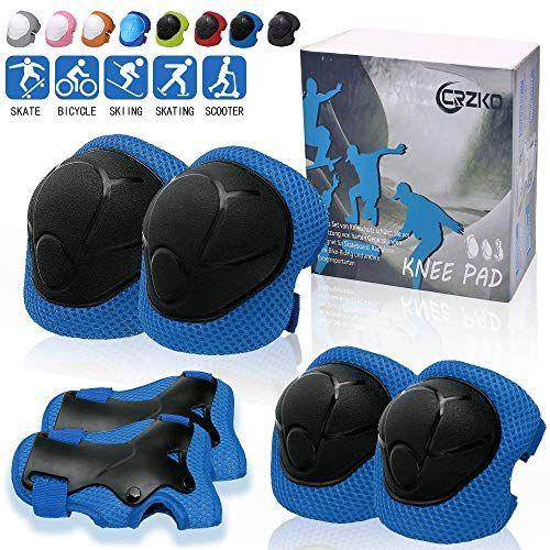 CRZKO Protection Roller Enfant Coudi/ère et Genouill/ère Ensemble de Protection pour V/élo//Roller//Patinage//BMX//V/élo//Planche /à Roulette Kit de Protection 6 en 1 pour Enfant