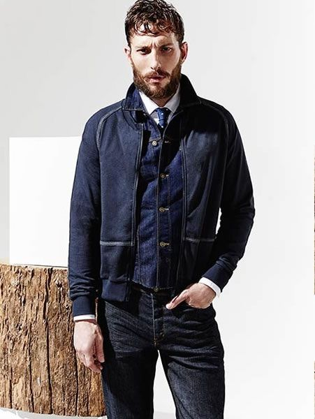 Men's Navy Bomber Jacket, Navy Denim Jacket, White Dress Shirt ...