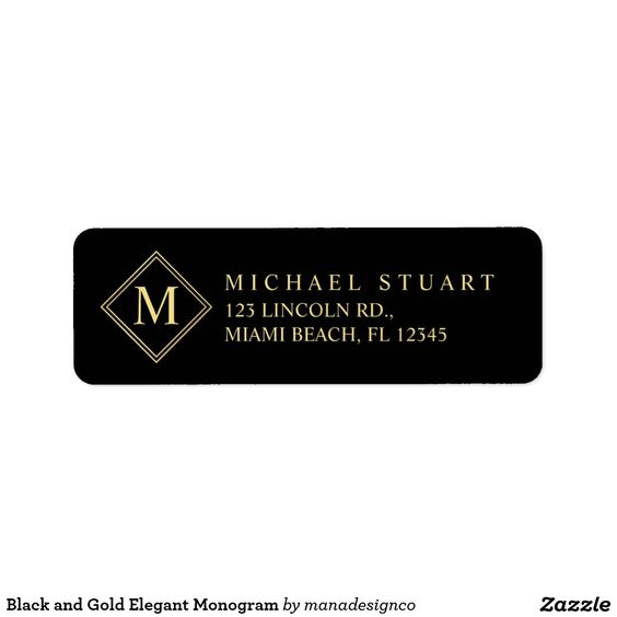 Black and Gold Elegant Monogram Return Address Label Template - adress label template