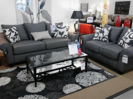 """gray """"collette"""" houndstooth couch & loveseat - value city furniture"""