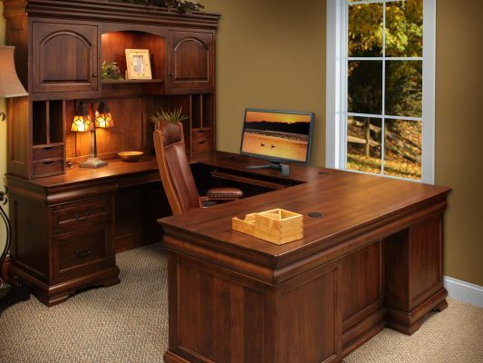 St Gallen Wood U Shaped Desk Office Furniture Set Wood Office