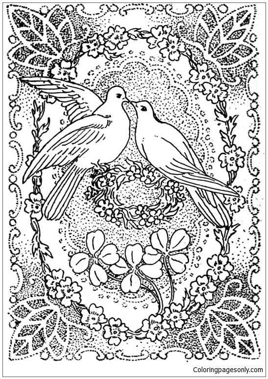 Doves Kissing In Peace And Love Coloring Page Love Coloring