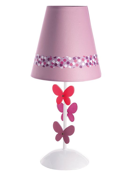 Lampe de chevet papi mini rose imprim minis - Lampe chambre fille ...
