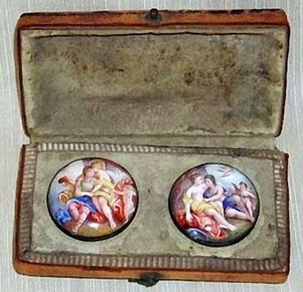 Extremely rare antique pair of 18th c. german hand painted enamel buttons: