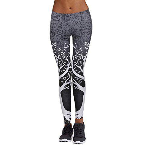 Femme taille haute 3D Imprimé Leggings Yoga Pantalon Gym Fitness Workout Pantalon