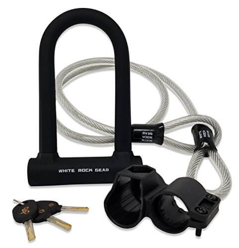 White Rock Gear Bike U Lock And Cable Heavy Duty 16mm Bicycle