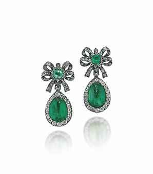 A PAIR OF LATE 18TH/EARLY 19TH CENTURY EMERALD AND DIAMOND EAR PENDANTS; sold at auction for $18,000.