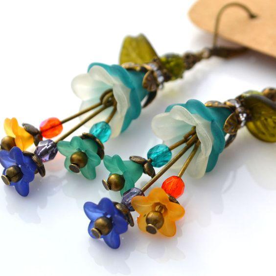 Multicolor Teal Cream Lucite Flower Blue Orange Glass Olive Green Leaf Earrings #Handmade #DropDangle