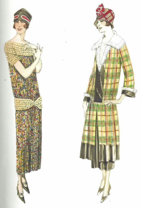 Atelier Bachwitz designs, 1922    Left: Silk pleated dress with multi-layered fringes on collar, short sleeves and broad band around the hip.    Right: Checked taffeta dress with white organdie plastron, collar and frills