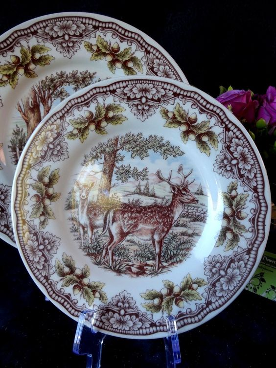 VICTORIAN ENGLISH POTTERY WOODLAND HARVEST    Victorian English Pottery by Edward Challinor made in England  Service for SIX 18 pieces  $269.91 on eBay