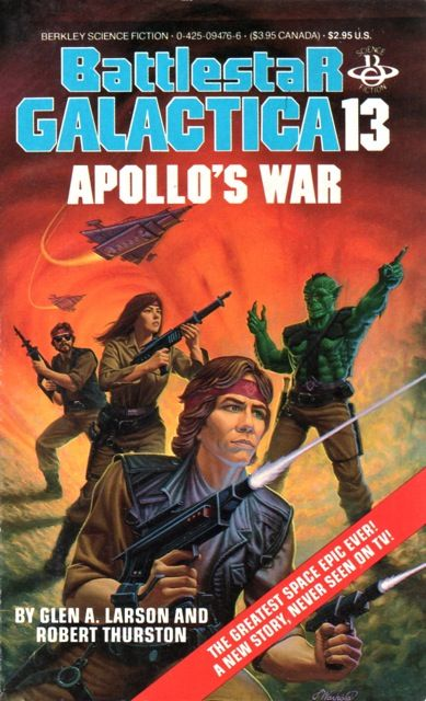 Publication: Apollo's War  Authors: Glen A. Larson , Robert Thurston Year: 1987-01-00 ISBN: 0-425-09476-6  Publisher: Berkley Books  Cover: James Warhola