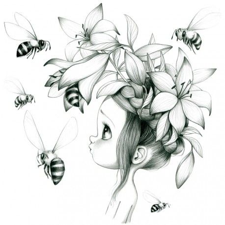 Dessin Fille Noir Et Blanc, Fleur Dessin, Dessin Abeille, Fleur Abeille, Dessin Petite Fille, Chambre Petite Fille, Chambre Enfants,