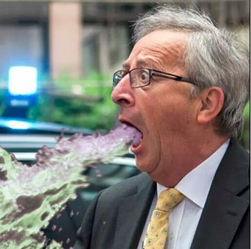 BRUSSELS - Belgium - EU President, Jean Claude Juncker has spectacularly projectile vomited onto a group of reporters, it has been reported in all news sources.: