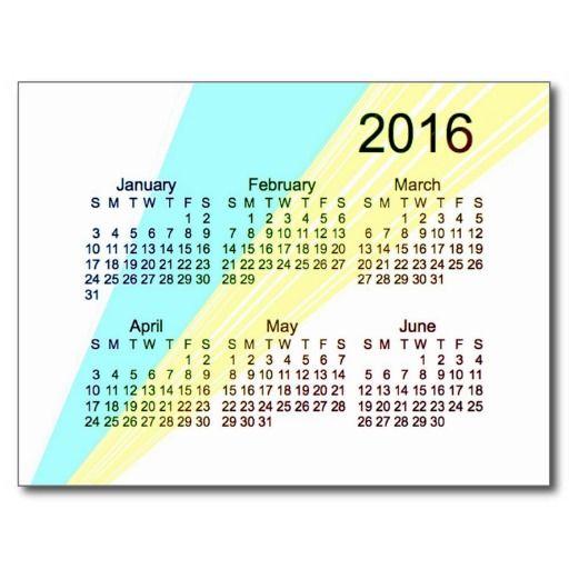2016 Mini 6 Month Calendar Postcard   Advertise Anything ...