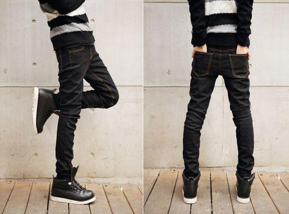 Koreanisch Unifarben Jeans schwarz-US$ 10.81 (€ 8,65)-Großhandelspreisen bei Rock-kleidung.com