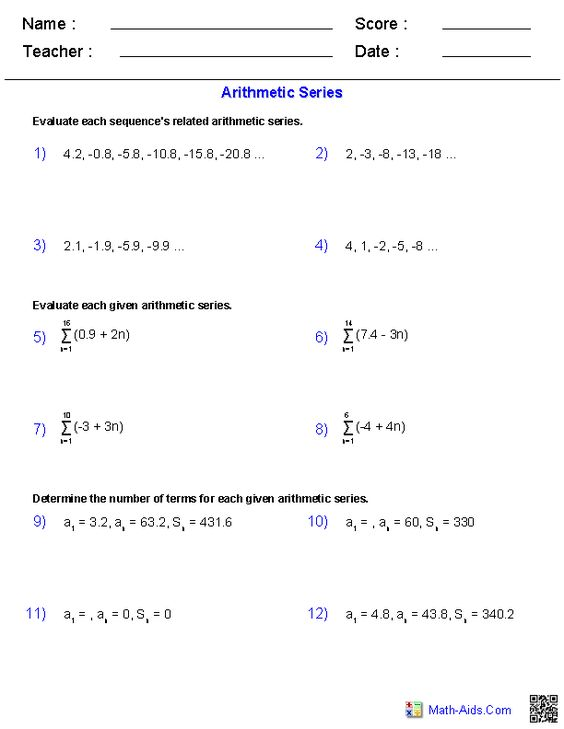 Printables Sequences And Series Worksheets general series worksheets math it is pinterest worksheets