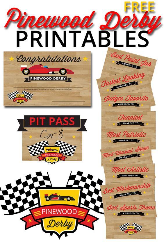 Free Pinewood Derby Printables