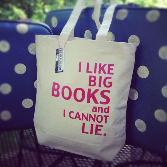 I Like Big Books and I Cannot Lie Tote Bag Plain by @beanblossom (only 2 left of pink)