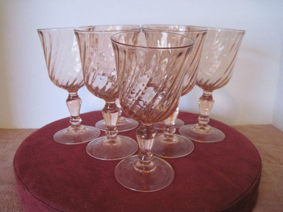 Set of 7 Areoroc Pink Goblet/Glass with Swirls made in France 6 ½ inch  #Arcoroc
