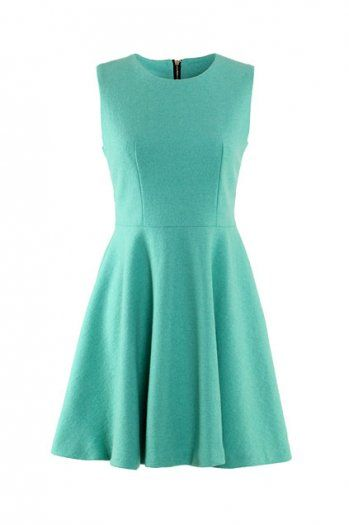 green woolen tank dress with a red skinny leather belt keeps perfect, from romwe