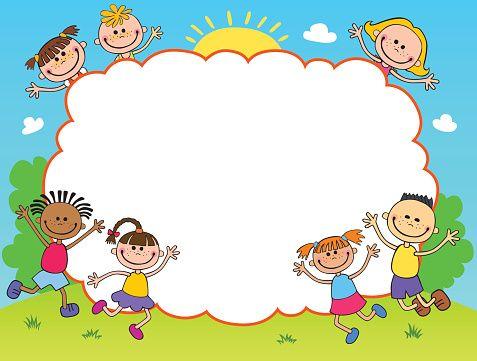 Children Play Clouds Design Over Sky Background Vector Illustration School Illustration Art Drawings For Kids School Wall Art