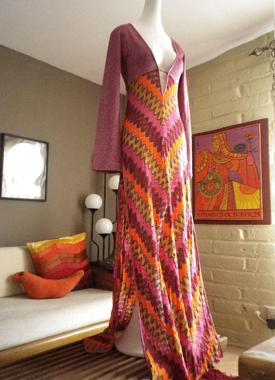 Vintage Missoni Groovy Mod maxi dress thigh slit plunging Neckline ...