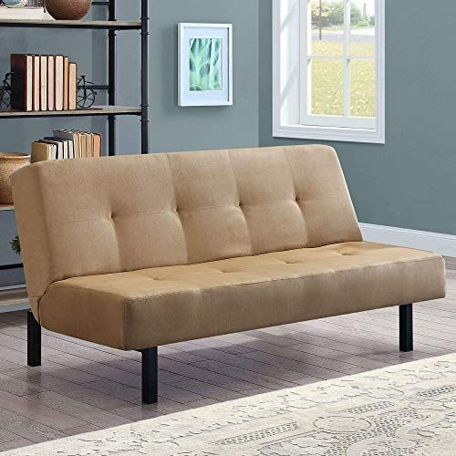Beautiful Tan Functional 3 Position Tufted Futon Padded Cushions Sturdy Square Metal Legs Metal Frame Plush Microfiber Upholstery Ideal As A Sofa Lounger S