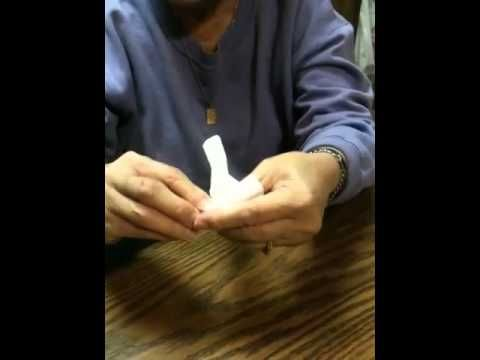 Proper Wonton Folding by Aunt Carol (Chin) Fuksa using a tissue for a wonton wrapper for teaching the fold.