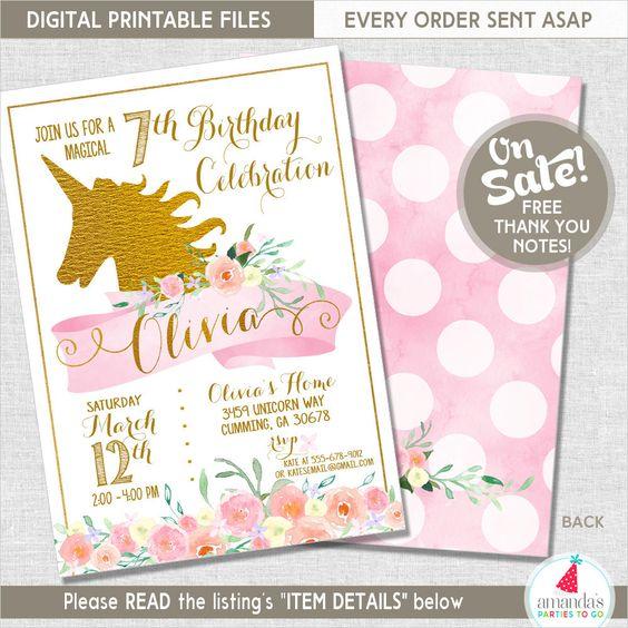Unicorn Party Invitation | Unicorn Birthday Invitation | Unicorn Party Printable | Rainbow Party | 1st Birthday | Amanda's Parties To Go