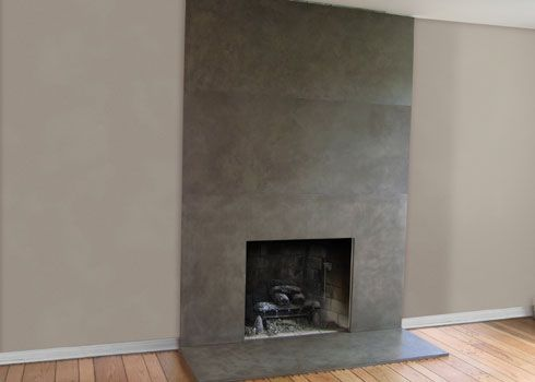 Family room fireplace concrete fireplace and fireplaces for Concrete mantels and hearths