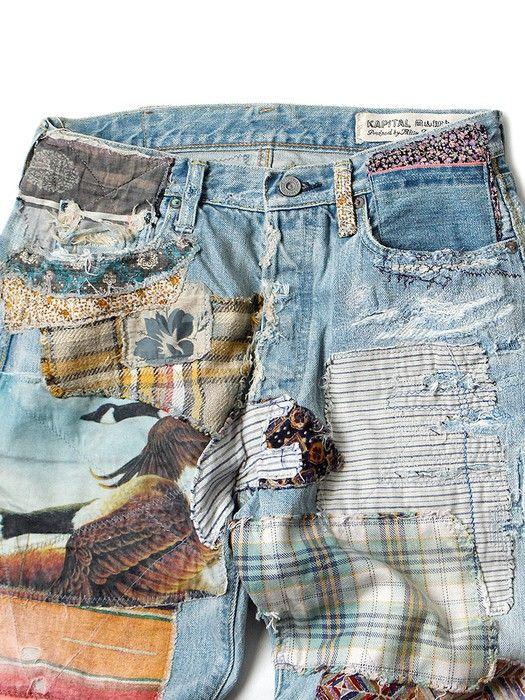 Kapital Kapital Happy Patchwork Tapered Denim Size 30 Denim For Sale Grailed Patched Denim Jeans Denim Kapital