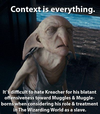 Exactly! I <3 Kreacher. I wish he was shown more in the films.