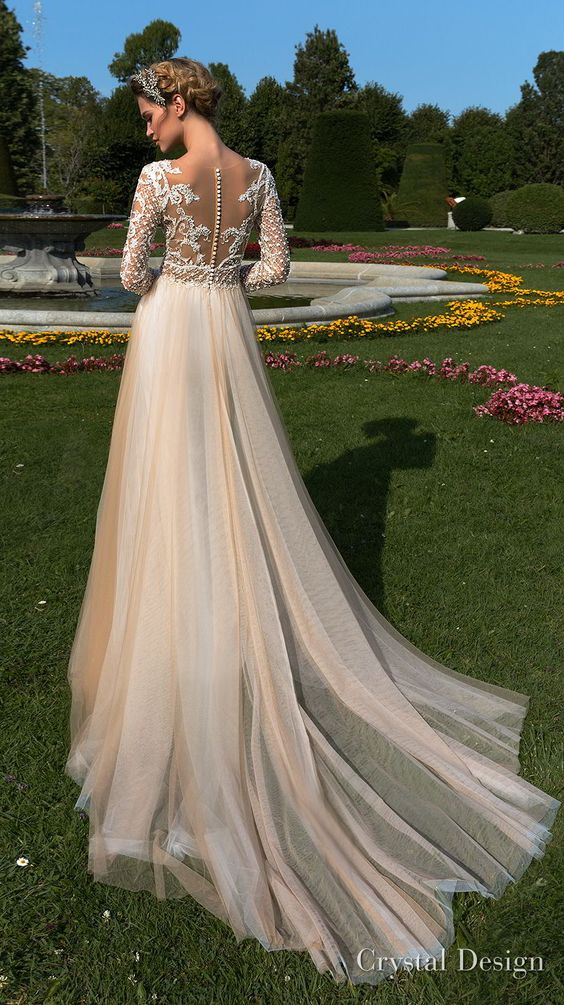 rystal design 2018 long sleeves v neck charmig Wedding Dresses beloved by many females