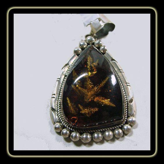 Large Tear Drop Shape Baltic Amber Sterling Silver Pendant